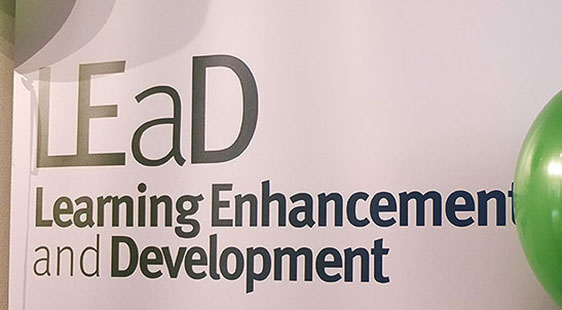 A sign which reads LEaD Learning Enhancement and Development
